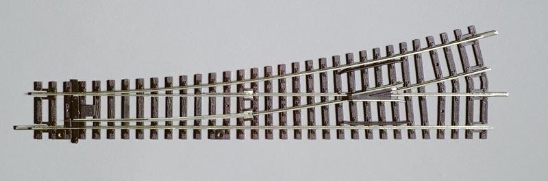 Weiche Links, 15°, A-Gleis mit Holzschwelle, Spur H0