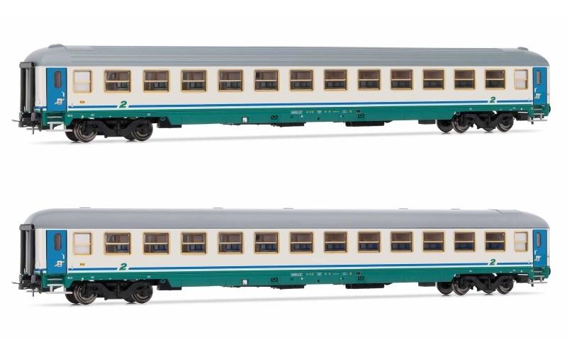 2-teiliges Set Reisezugwagen Bauart UIC-X der FS, DC, H0