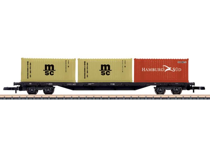 Containertragwagen Sgs 693 beladen mit Containern DB Spur Z