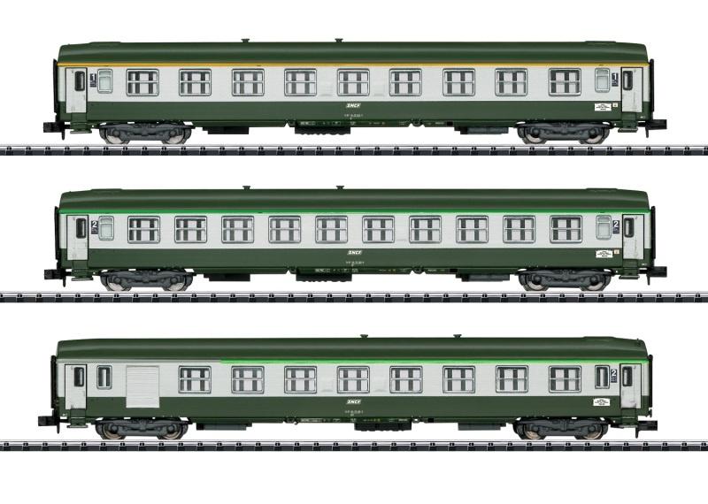 Schnellzugwagen-Set Orient-Express, SNCF, Minitrix Spur N