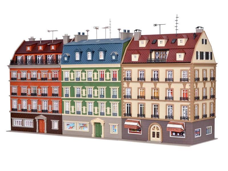 Häuserblock, 3 Gebäude, Bausatz, Spur H0