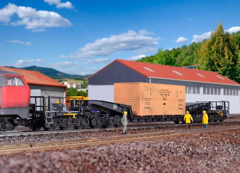 vagón ferroviario de unión profundamente carro de carga uaais 819 #neu en OVP # Kibri 16510 pista h0