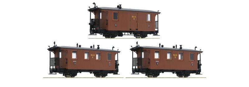 Personenwagen-Set der RüKB, 3-teilig, Epoche I, Spur H0e