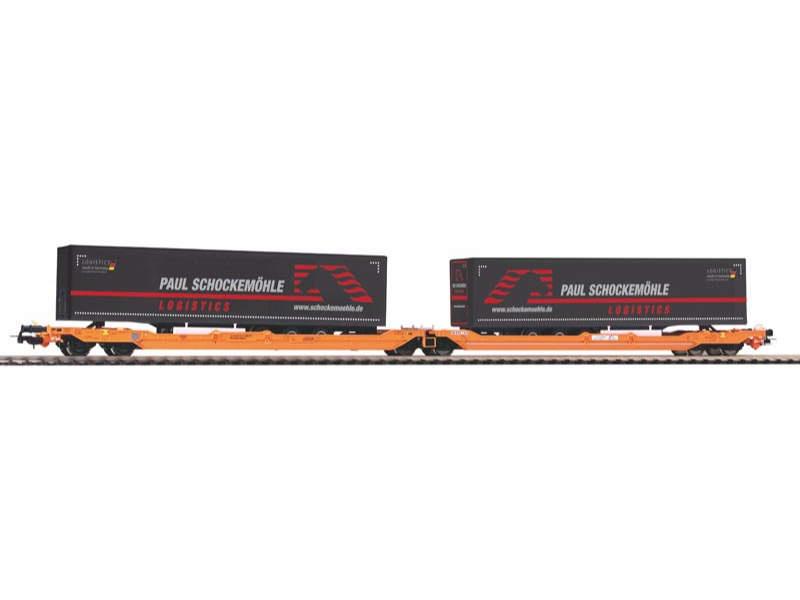 Taschenwagen T3000e Wascosa mit 2 Schockemöhle Trailern, H0