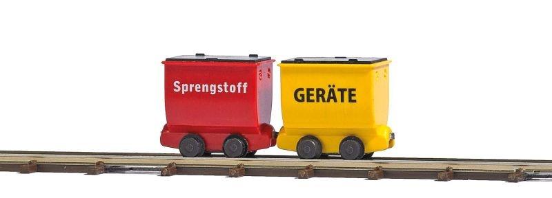Zwei Loren für Geräte und Sprengstoff, Spur H0f Feldbahn