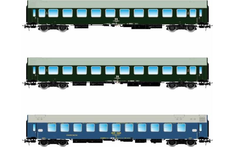 3-tlg. Set Pannonia-Express (B, Bc, WLAB), DR/BDZ, DC, H0