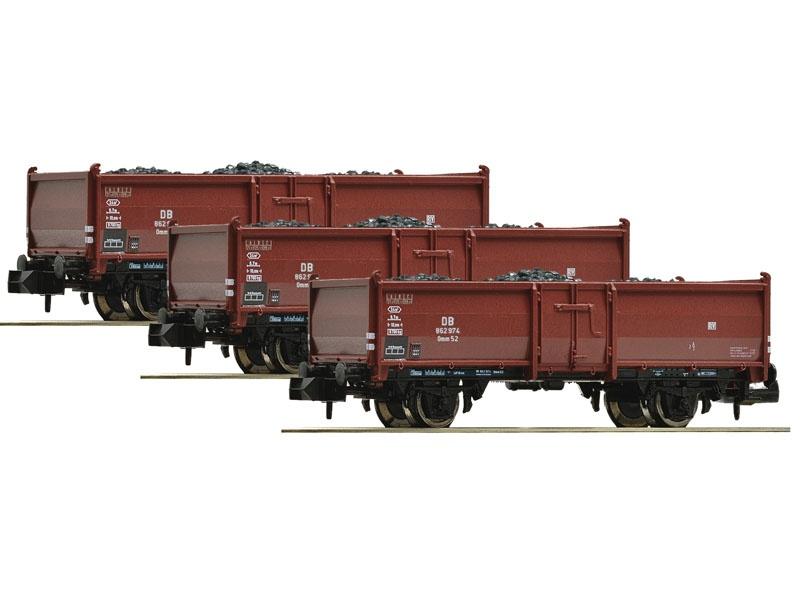 3tlg. Güterwagen Set Kohlewagen, Bauart Omm52 DB, DC, Spur N