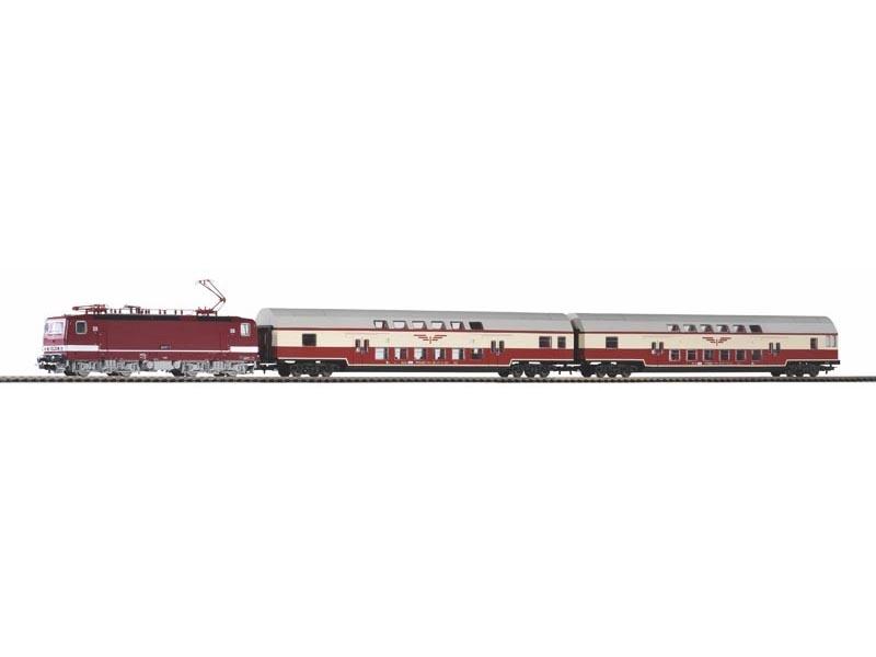 Zugset Sputnik Sound-E-Lok BR 243 mit 2 Wagen, DR, DC, H0