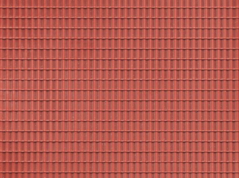 Dekorplatte Dachpfanne rotbraun lose, Kunststoff, Spur H0/TT