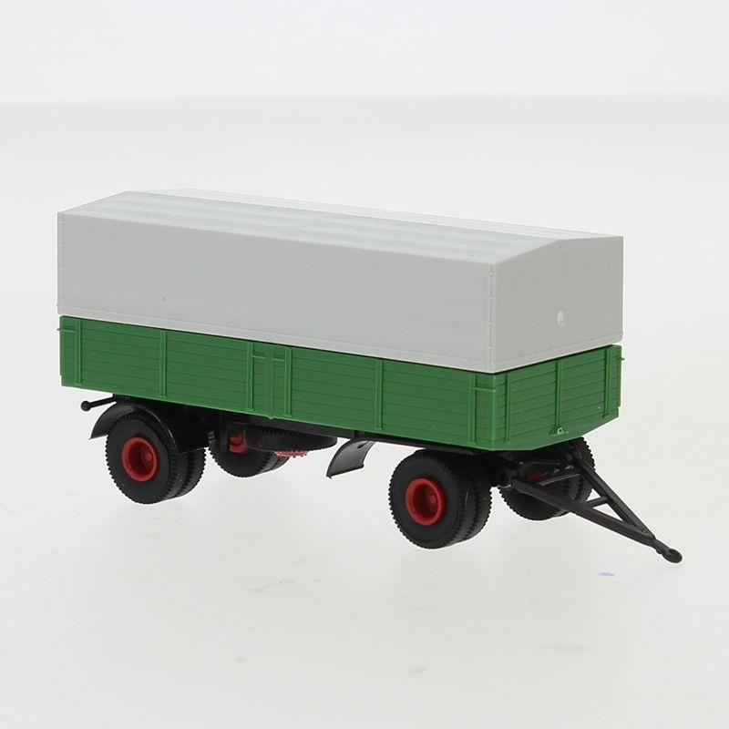 Anhänger 2-achs. Pritsche/Plane, grün/schwarz, 1:87 / H0