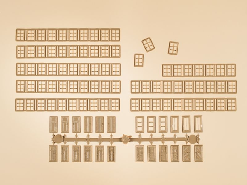Set Sprossenfenster & Türen, Bausatz, Spur H0 / Spur TT