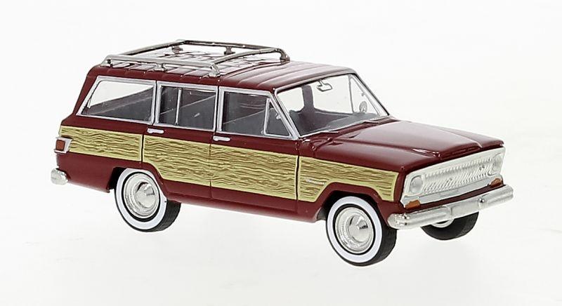 Jeep Wagoneer B, dunkelrot, Woody, 1968, 1:87 / H0