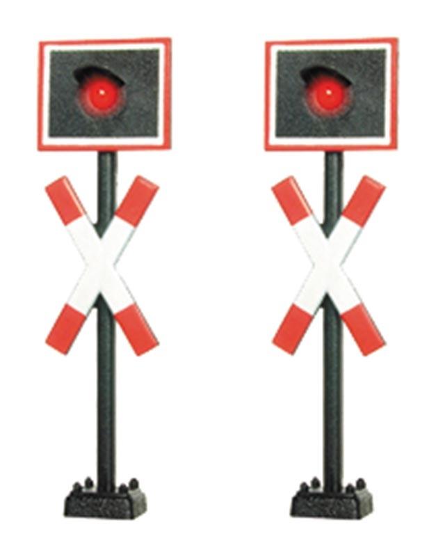 Andreaskreuze, mit LED, 2 Stück, Spur H0