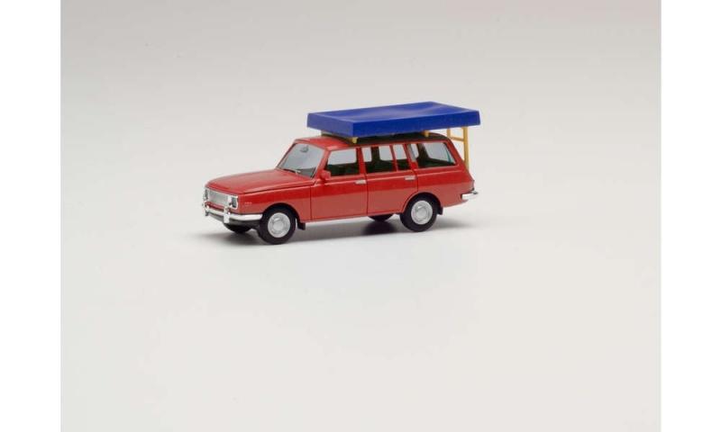 Wartburg 353 `66 Tourist mit Dachzelt im Fahrzustand rot, H0