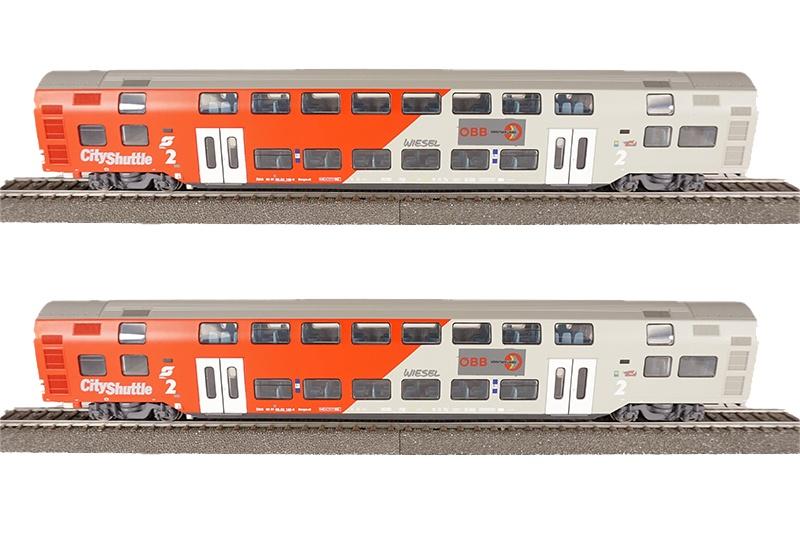 2-teiliges SET, Doppelstockwagen rot/grau, ÖBB, DC, Spur H0