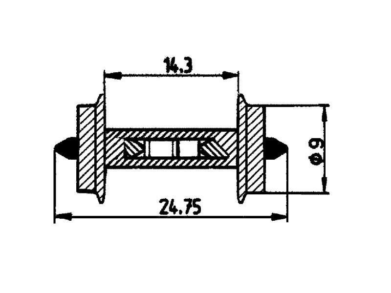 Widerstands-Radsatz 9mm H0