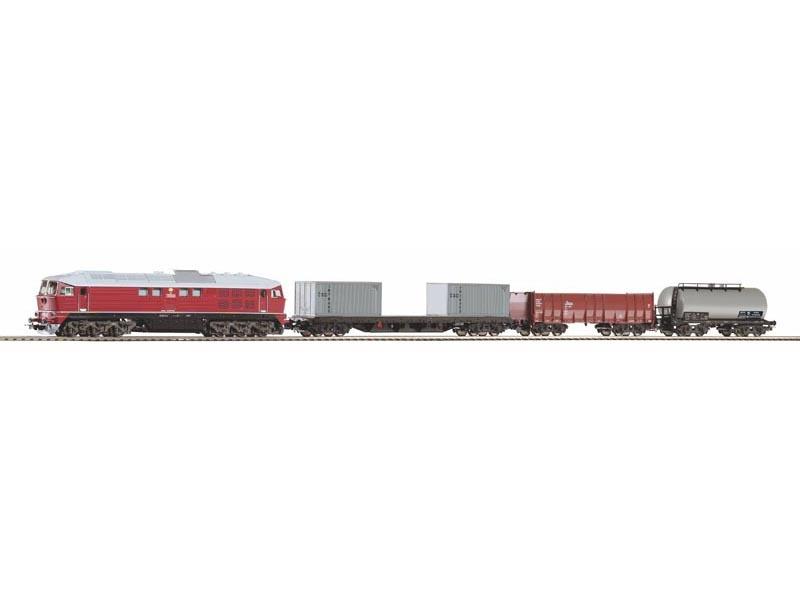 Start-Set mit Bettung BR 130 CSD + 3 Güterwagen, DC, Spur H0