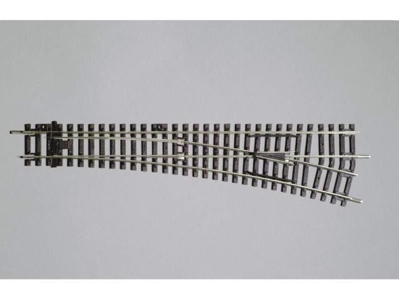 Weiche rechts, 15°, A-Gleis mit Holzschwelle, Spur H0