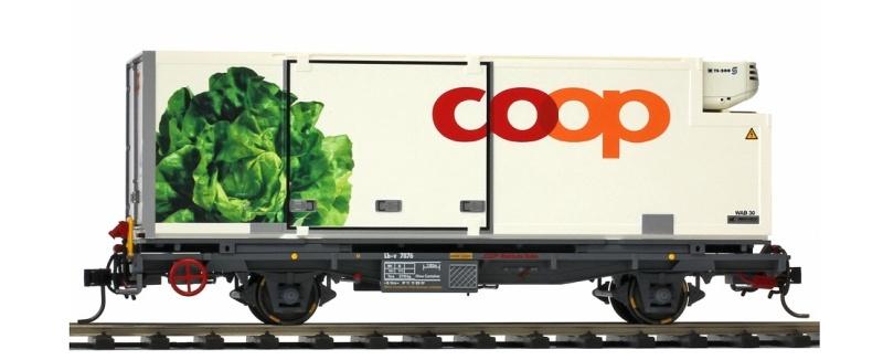 Containerwagen Kopfsalat Coop Lb-v 7876 der RhB, Spur 0m