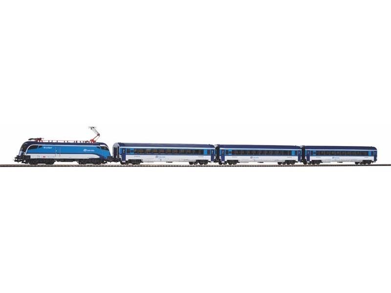Start-Set mit Bettung Rail Jet der CD, DC, Spur H0